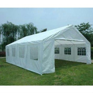 Peaktop 26' X20' Heavy Duty Carport Party Wedding Tent Car Shelter Canopy Gazebo Pavilion Garage with Sidewalls White
