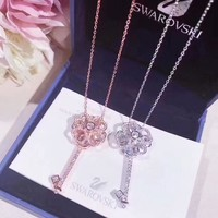 Swarovski Women Fashion New Diamond Floral Key Sterling Silver Personality Pendant Necklace