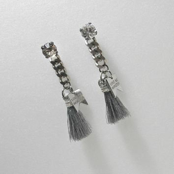 [W.C.] silver fringe chain earrings