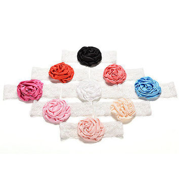 1 Pcs Lovely Baby Flower Lace Headband 9 Colors Children Hair Accessories L23