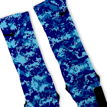 Camouflage Blue Custom Nike Elite Socks