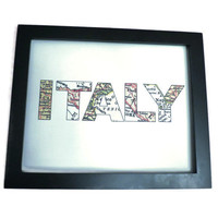 Italy Map Art Print, Map Letter Art, Italy Print with Letters, Tuscany, Venice, Rome, Sicily, Naples Italian Art