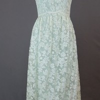 1960s Pale Sage Green Lace Maxi Gown & Jacket by Malcolm Starr - fits 35 inch bust