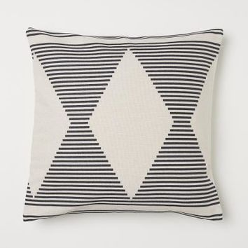 Patterned Cotton Cushion Cover - Natural white/patterned - Home All | H&M US