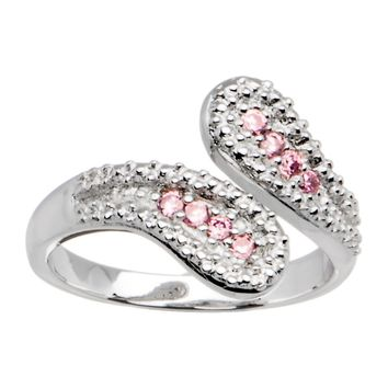 Sterling Silver 925 Pink Cubic Zirconia Wrap Toe Ring
