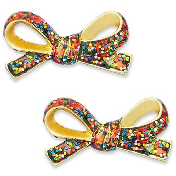 kate spade new york Earrings, 12k Gold-Plated Multi-Glitter Mini Bow Stud Earrings - Fashion Jewelry - Jewelry & Watches - Macy's