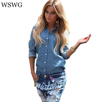 2017 Women New Denim Shirt Euro Style Slim Blouse Button Back Split Polka Dot Print Turn-down Collar Tops 4 Season 60610