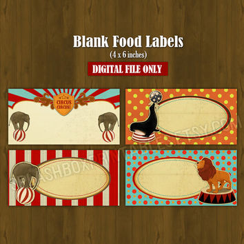 Circus Printable Food Labels - Vintage Circus Party Place Cards or Food Labels (Tent Cards) - INSTANT DOWNLOAD