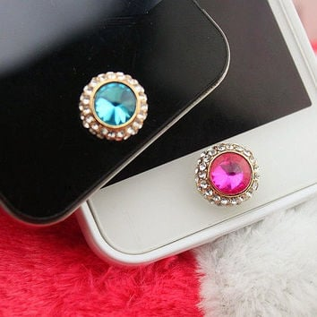 1PC Bling Crystal Framed Round Big Crystal iPhone Home Button Sticker Charm for iPhone 4,4s,4g,5,5c Cell Phone Charm Lover Gift