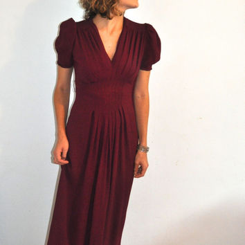 1940's Dress / Maroon Dress / Old Hollywood Glam