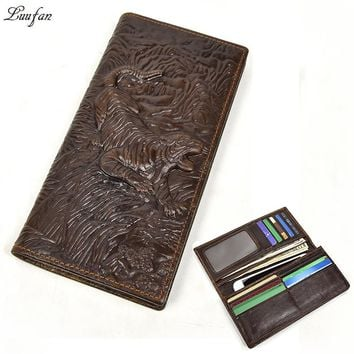 Vintage Genuine Leather Men Wallets Tiger Real Cowhide Leather Long Bifold Purse Casual Zipper Coin Phone Pocket Clutch Wallet