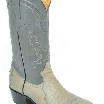 Gavel Handcrafted Men's 4 Piece Ostrich Cowboy Boots Grey