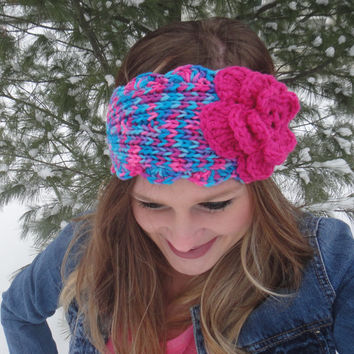 Girls Winter Knitted Headband with Flower and Button