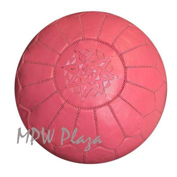 Pouf Pink Moroccan Leather
