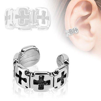 Iron Cross Pattern Rhodium Plated Brass Non Piercing Ear Cuff [Jewelry]
