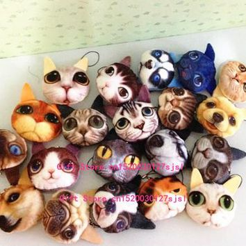 1X Design Random , Kawaii HOT 3D - 5CM Gift Cat , Doggies Plush Stuffed Toy , 3D Plush Animal String Decor Key Chain Plush Toy