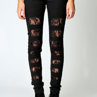 Jade Lace Insert Black Skinny Jeans