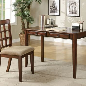 2 pc chestnut finish wood desk and chair with drawers