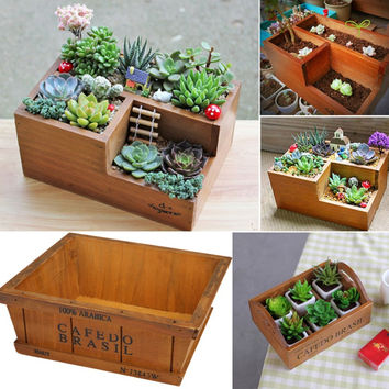 Garden Supplies Wooden Garden Planter Window Box Trough Pot Succulent Flower Bed Plant Bed Pot