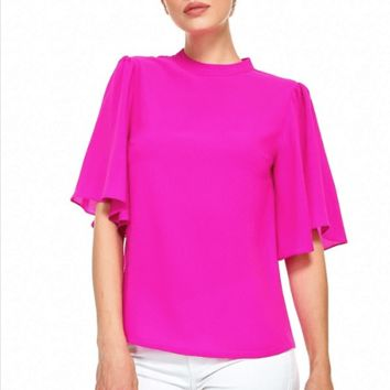 Women's Mock Neck Top with Butterfly Sleeves