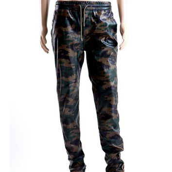 Men Camouflage PU Leather Jogger Pants Side Zipper New 2017 Mens Camo Pattern Hip Hop Joggers Faux Leather Free Shipping