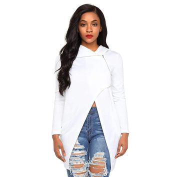 White Split Front Zipped Hoodie
