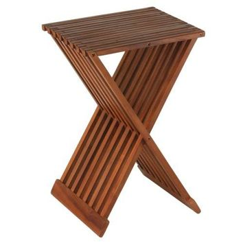 Patio Chair Folding Counterstool Teak Wood Brown Contemporary Outdoor Garden