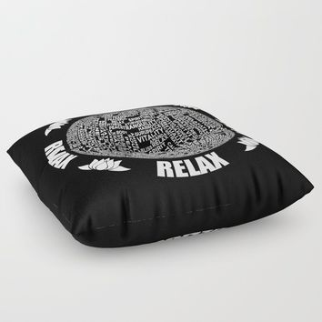 Meditation Yoga Design Floor Pillow by inspiredimages