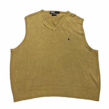 Vintage Polo by Ralph Lauren Tan Linen/Cotton Sweater Vest Mens Size XL