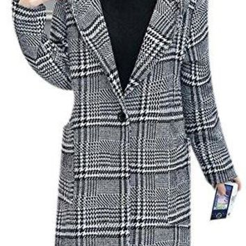 Women's Plaid Hooded Single Breasted Slim Trench Wool Peacoat Jacket