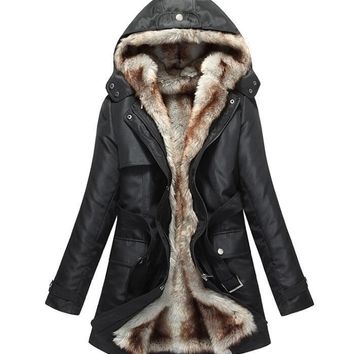 2017 Fashion winter jacket Women Warm Coat Parkas With Hood Removable Fur lining Thick Oversized Basic outerwear Plus Size 3XL