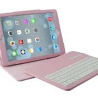 NEWSTYLE Pink Color Slim Detachable Removable Wireless Bluetooth ABS Plastic Keyboard Stand PU Protective Folding Leather Case Cover For Apple iPad Air iPad 5
