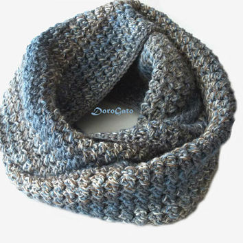 Crochet infinity scarf, Multicolor infinity scarf, gray crochet scarf, handmade ring scarf, unisex infinity scarf, loop scarf