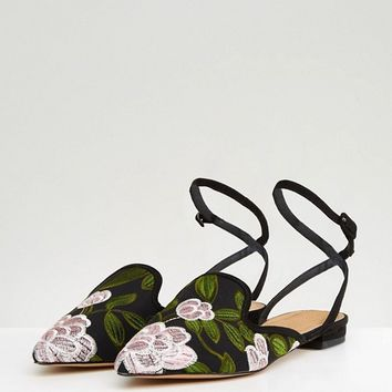 ASOS LAGOS Embroidered Ballet Flats at asos.com