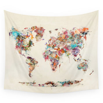 Society6 World Map Watercolor Deux Wall Tapestry