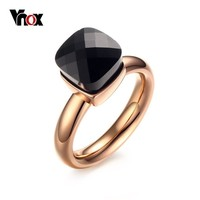 Vnox Trendy Engagement Rings for Women Jewelry with Colorful Glass Stones Rose Gold-color Stainless Steel Female Rings