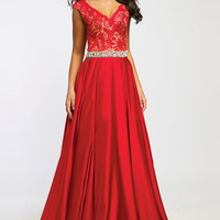Cap Sleeve Satin A-Line Gown 21790 - Prom Dresses