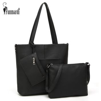 New arrival simple PU leather women bags star style composite bag brand shoulder bag 1 Handbag+1 Messenger Bag+1 Purse WLHB1508