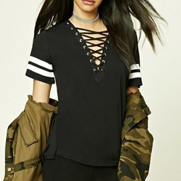 Lace-Up Varsity-Stripe Top