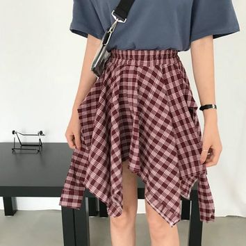 Harajuku Women Plaid Skirt Preppy Style Irregular Skirts Mini Cute School Uniforms Saia Faldas Ladies Jupe Kawaii Skirt SK647