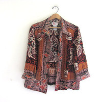 vintage shirt. tribal print. resort wear. open fit shirt jacket