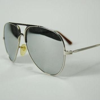 Vintage Mirrored Aviators 70s Silver Ray Ban by WaistedVintage1