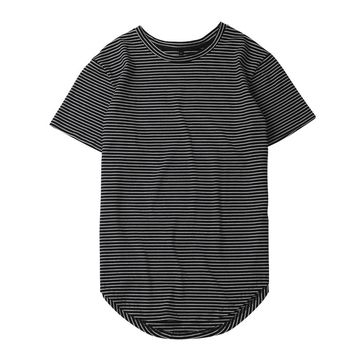 T-Shirt Man summer 2018 of solid color long round bottom line camouflage Hip Hop kanye tee shirts men t-shirts elong plain Top