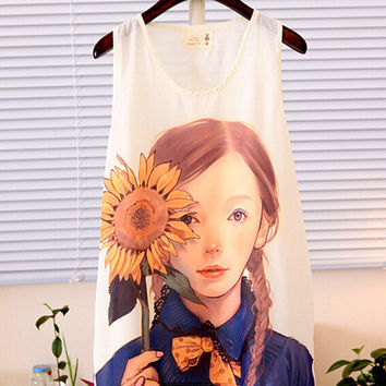 Summer Korean Stylish Round-neck Cartoons Print Chiffon Tops Vest Bottoming Shirt [4962085956]