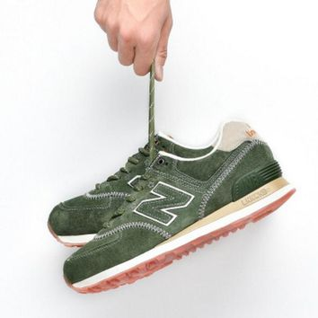 New balance abric is breathable n leisure sports Couples forrest gump running Army green-1