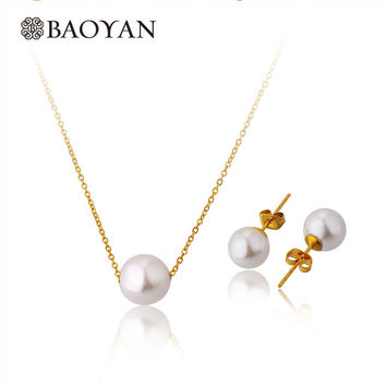 Women 45cm 316l Stainless Steel Imitation White Pearl Choker Necklace and Earring Jewelry Sets Collar n5