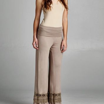Cocoa or Black Lace Bottom Pants