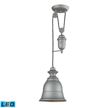 Elk Lighting 65080-1-LED Farmhouse Aged Pewter Pulley Adjustable Height LED One Light Mini Pendant