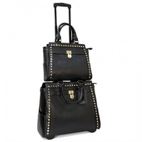 Cabrelli Women's Rolling Laptop Bag and Tablet Tote Set- Pyramid Studs - Laptop Bags