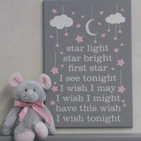 Star Light Star Bright First Star I See Tonight I Wish I May I Wish I Might Have This Wish I Wish Tonight - Nursery Rhyme Baby Girl Wall Art